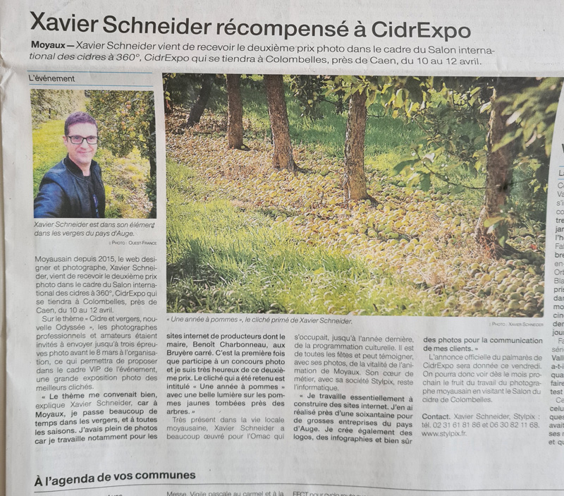 article Xavier Schneider photographe lisieux ouest-france pays auge